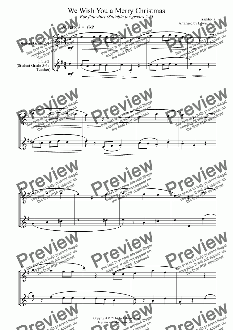 page one of We Wish You a Merry Christmas (for flute duet, suitable for grades 2-6) (14BFLDU15)