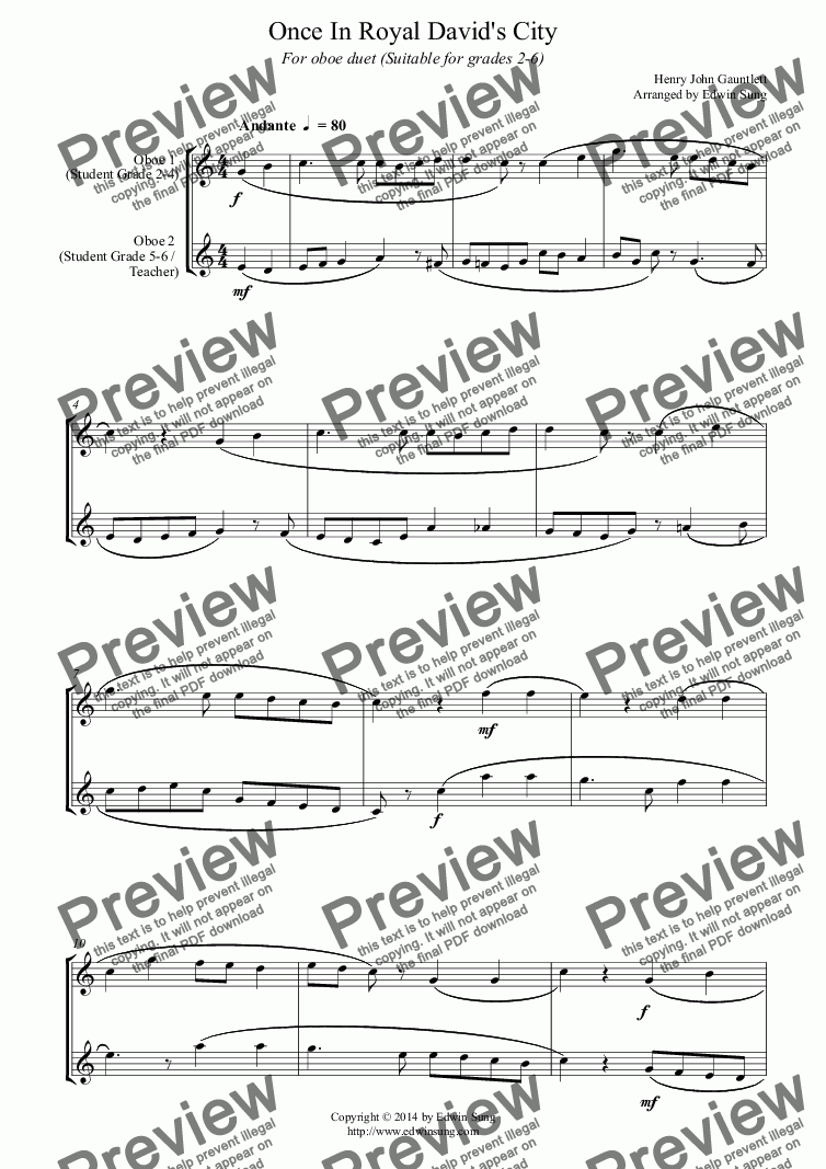 page one of Once In Royal David's City (for oboe duet, suitable for grades 2-6)