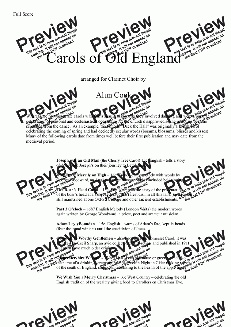 page one of Carols of Old England (Clarinet Choir)