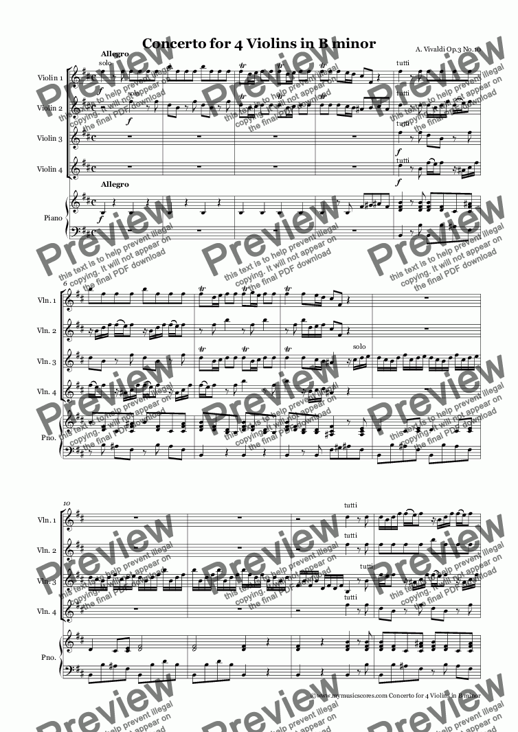 page one of Vivaldi Concerto for 4 Violins in B minor for Violins and Piano
