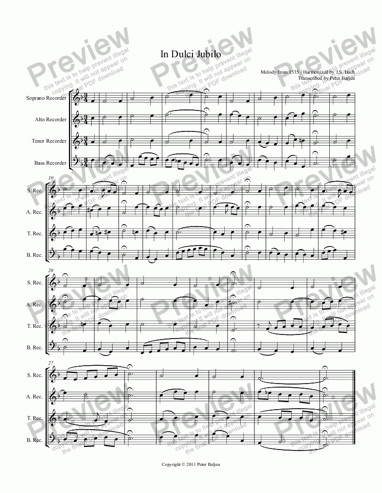 page one of Bach In Dulci JubiloASALTTEXT