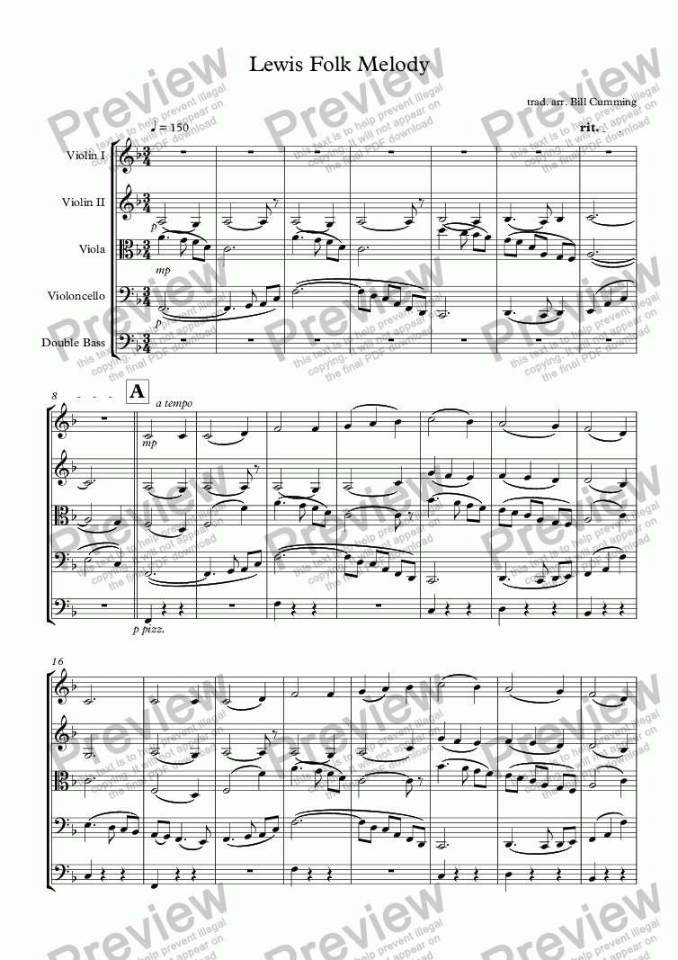 "page one of ""Lewis Folk Melody"" for string orchestra"
