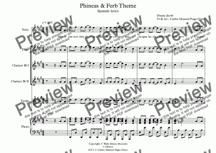 page one of Phineas & Ferb Theme