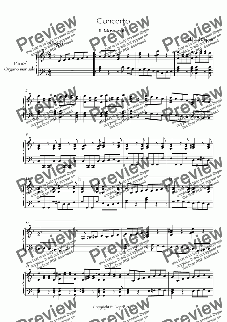 page one of Concerto III.Movimento