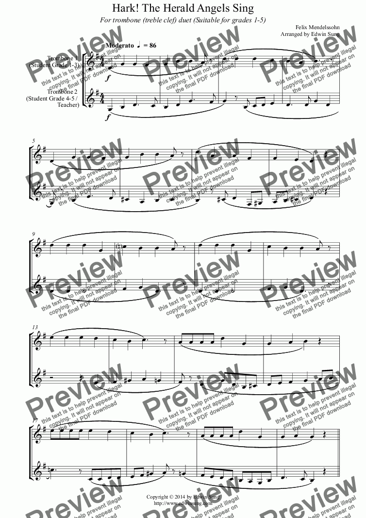 page one of Hark! The Herald Angels Sing (for trombone duet (treble clef), suitable for grades 1-5)