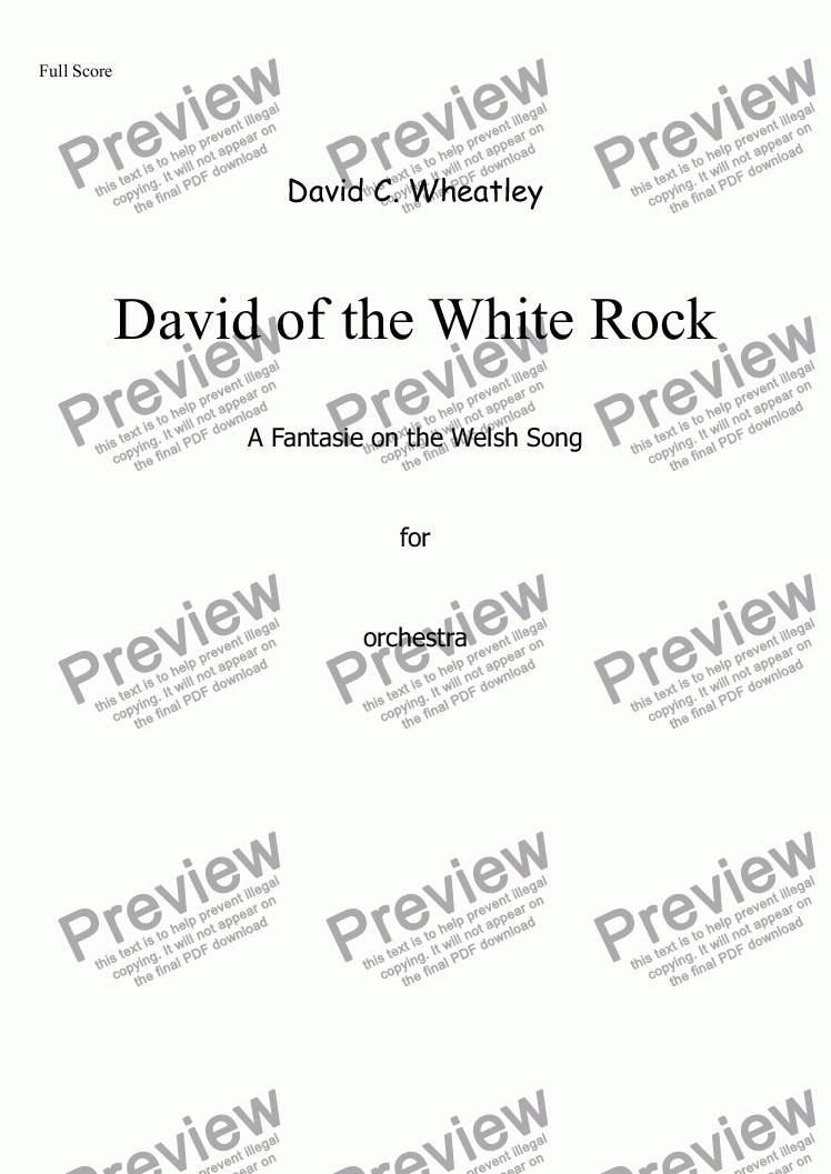 page one of David of the White Rock by David Wheatley for orchestra