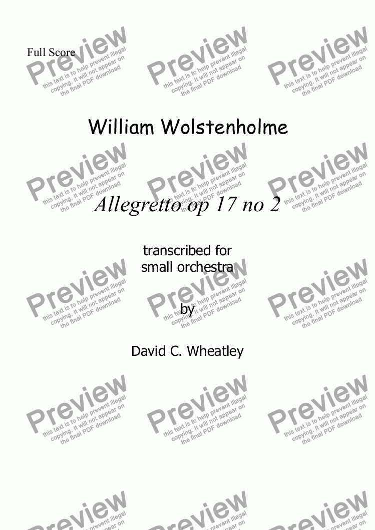 page one of Wolstenholme - Allegretto  op 17 no 2 for small orchestra