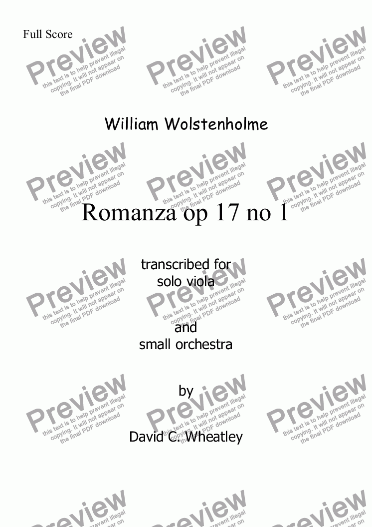page one of Wolstenholme - Romanza op 17 no 1 for solo viola and small orchestra