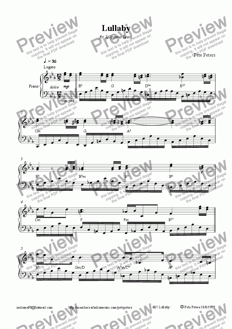 page one of Lullaby [Piano]