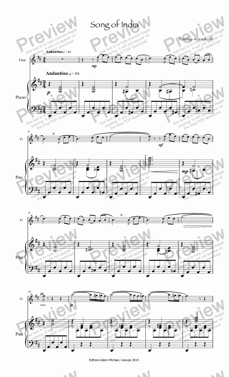 page one of Rimsky-Korsakoff, Song of India for flute & piano