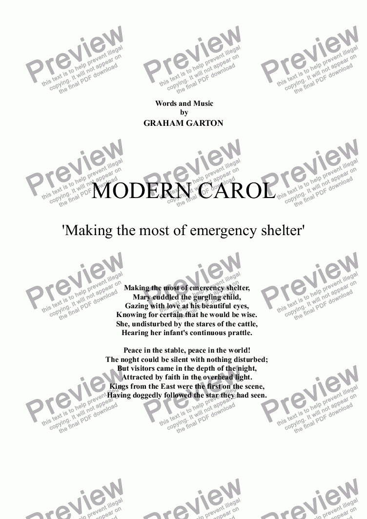 page one of CAROL - MODERN CAROL 'Making the most of  for emergency shelter' for SATB in 'Silent Night' style. New Words and Music