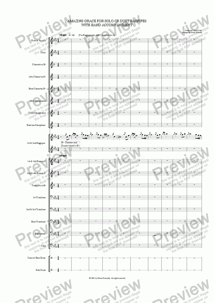 page one of Amazing Grace For Solo Or Duet Bagpipes With Band Accompaniment