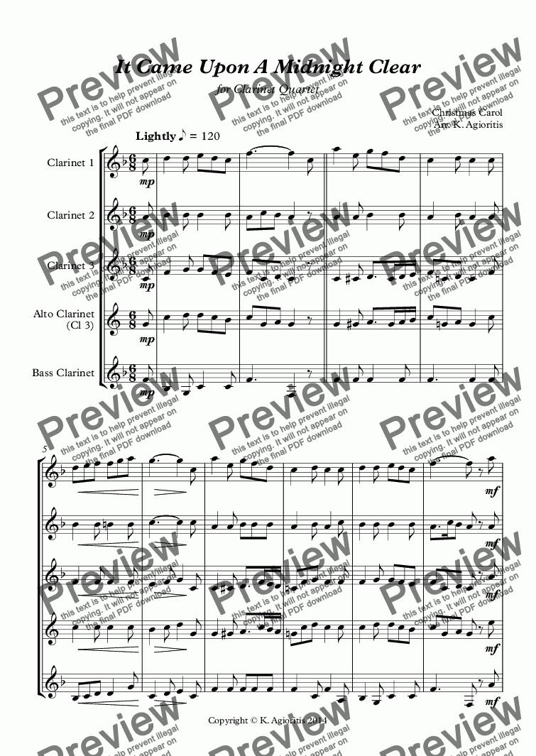 page one of It Came Upon A Midnight Clear - Clarinet Quartet