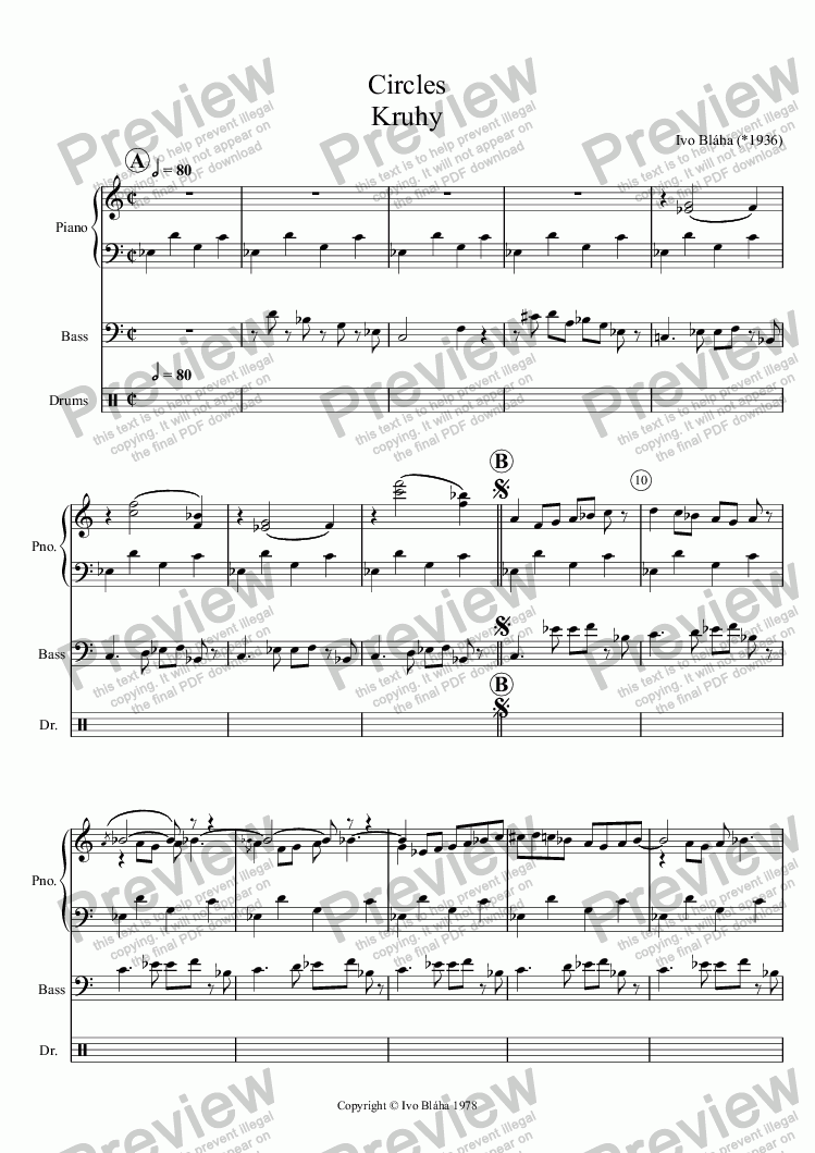 page one of CIRCLES (Kruhy) for jazz trio