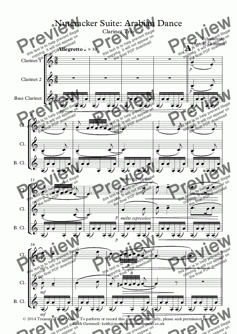 page one of Nutcracker Suite: Arabian Dance: Clarinet Trio