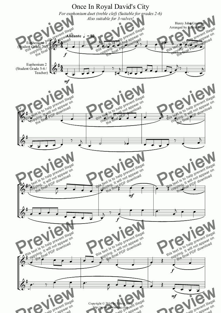 page one of Once In Royal David's City (for euphonium duet (Bb treble, 3 or 4 valved), suitable for grades 2-6) (14BEUDU30)