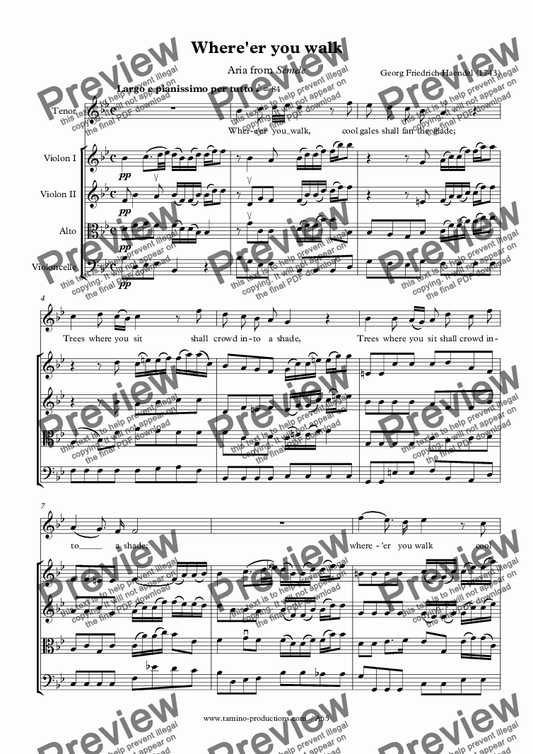 page one of Haendel: Where'er you walk for voice and string quartet