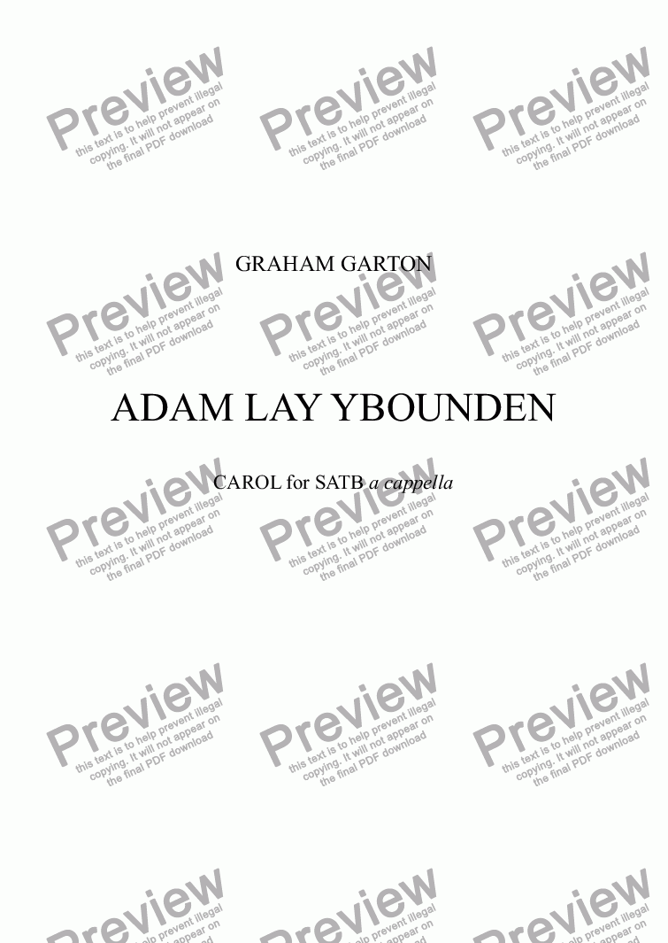 page one of CAROL - ADAM LAY YBOUNDEN for SATB a cappella (Original Key)