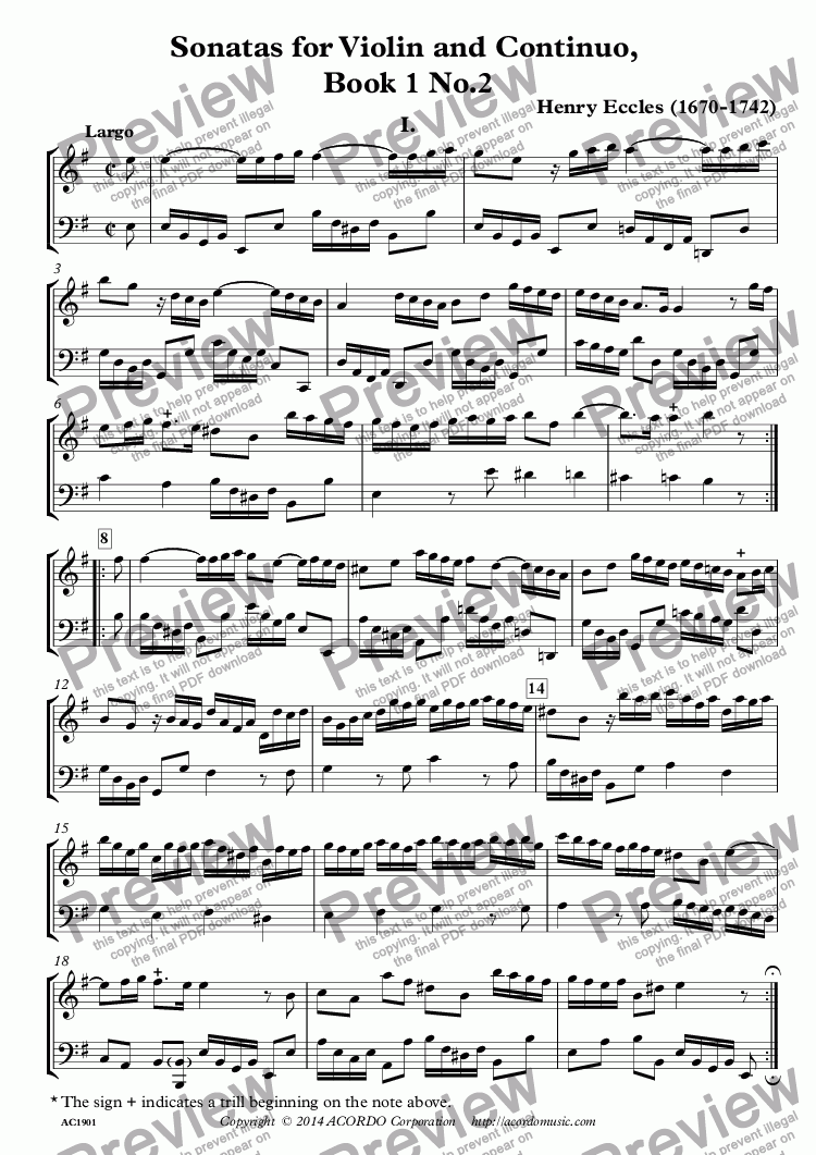 page one of Sonatas for Violin and Continuo, Book 1 No.2ASALTTEXT