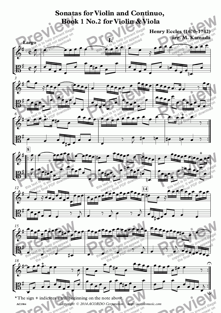 page one of Sonatas for Violin and Continuo, Book 1 No.2 for Violin & Viola