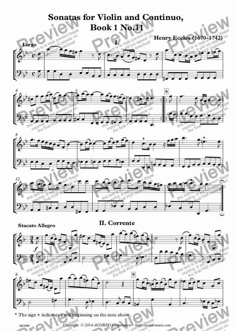 page one of Sonatas for Violin and Continuo, Book 1 No.11