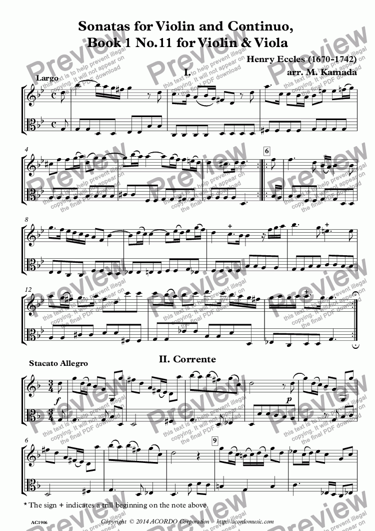 page one of Sonatas for Violin and Continuo, Book 1 No.11 for Violin & Viola