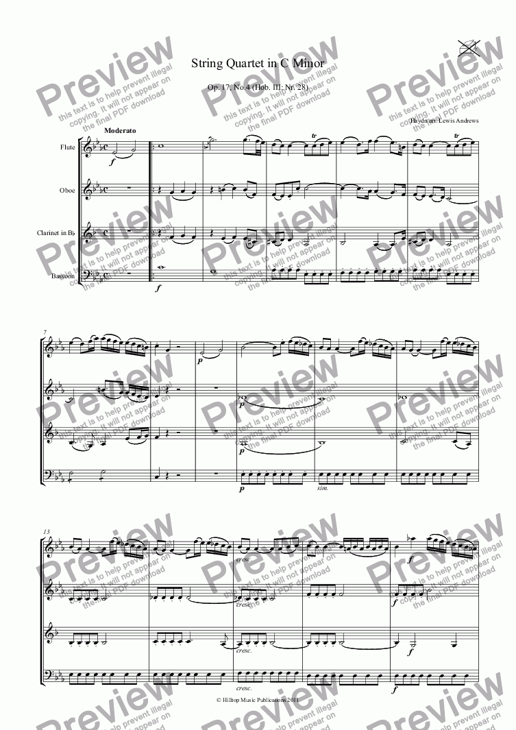 page one of Haydn Quartet in C Minor