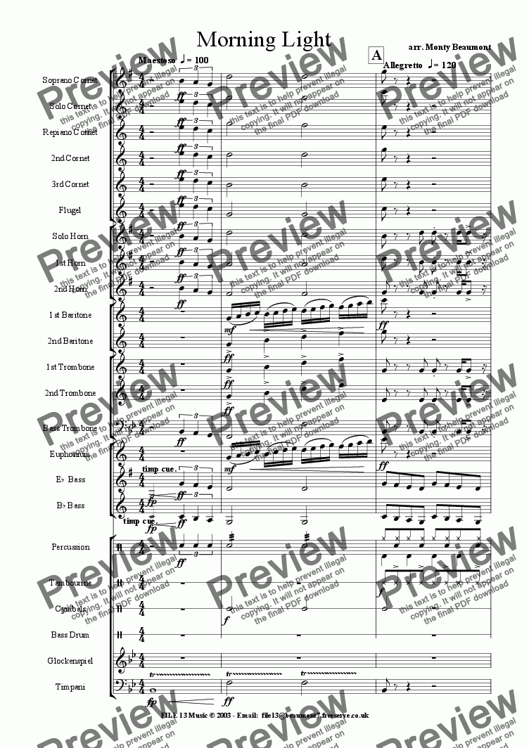 page one of Morning Light (Brass Band)