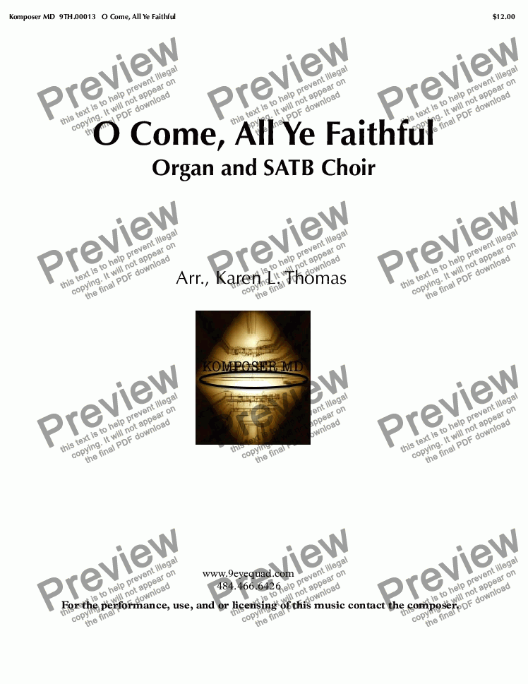 page one of O Come, All Ye Faithful Organ and SATB Choir