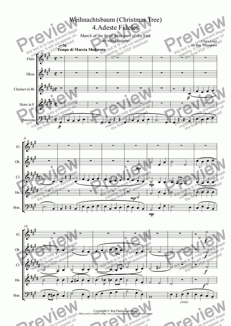 page one of Liszt: Weihnachtsbaum (Christmas Tree Suite) No.4. Adeste Fideles (March of the Three Wise Men of the East) (Magi) arr.wind quintet