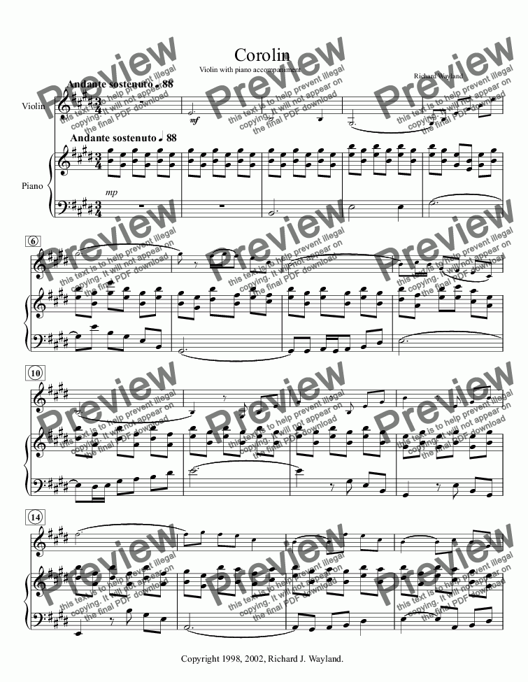 page one of Corolin (Violin and Piano)