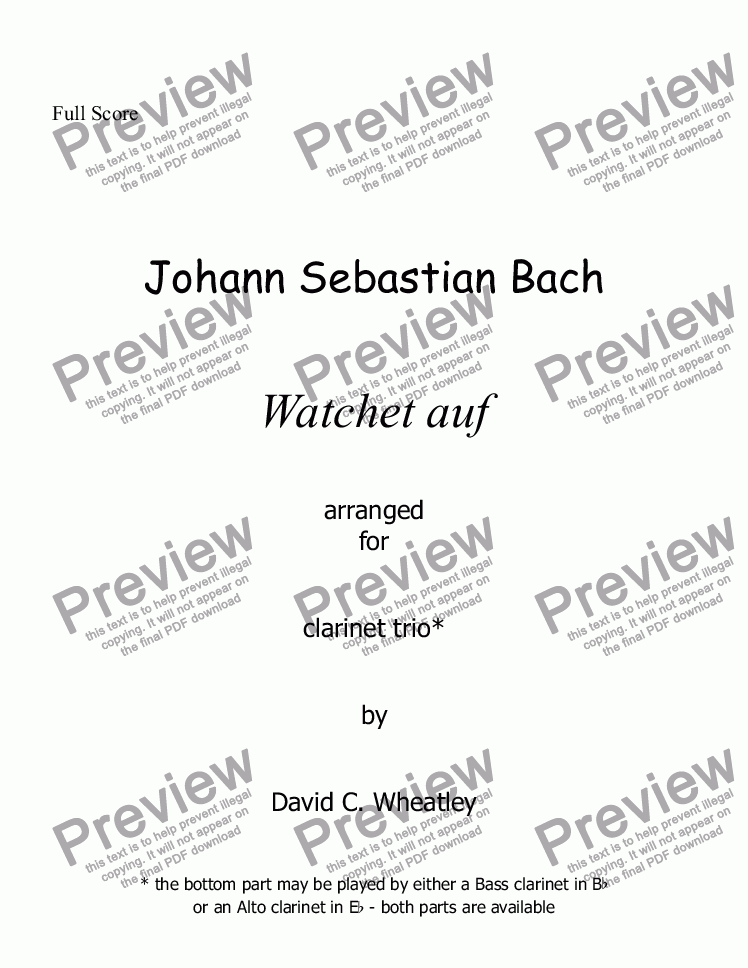 page one of Bach - Watchet auf for clarinet trio (2xBb + Bass)