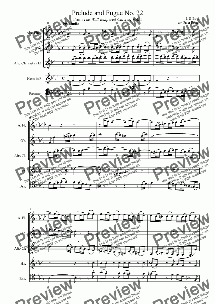 page one of Prelude and Fugue No. 22