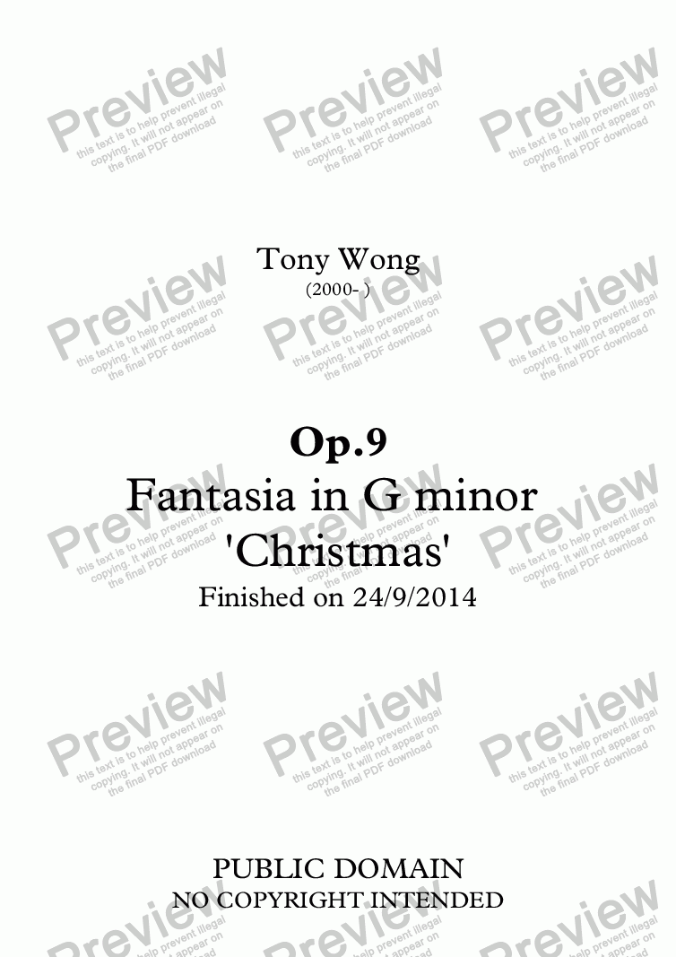 page one of Op.9 Fantasia in G minor 'Christmas'