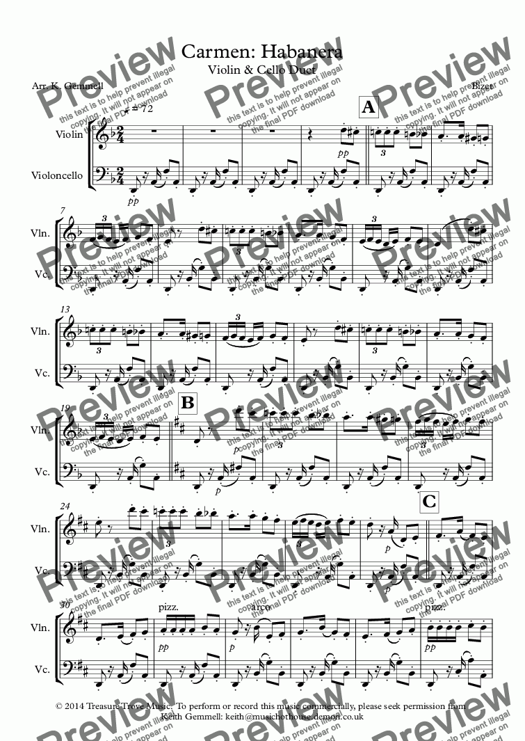 Carmen: Habanera: Violin & Cello Duet for Duet by Bizet - Sheet Music PDF  file to download