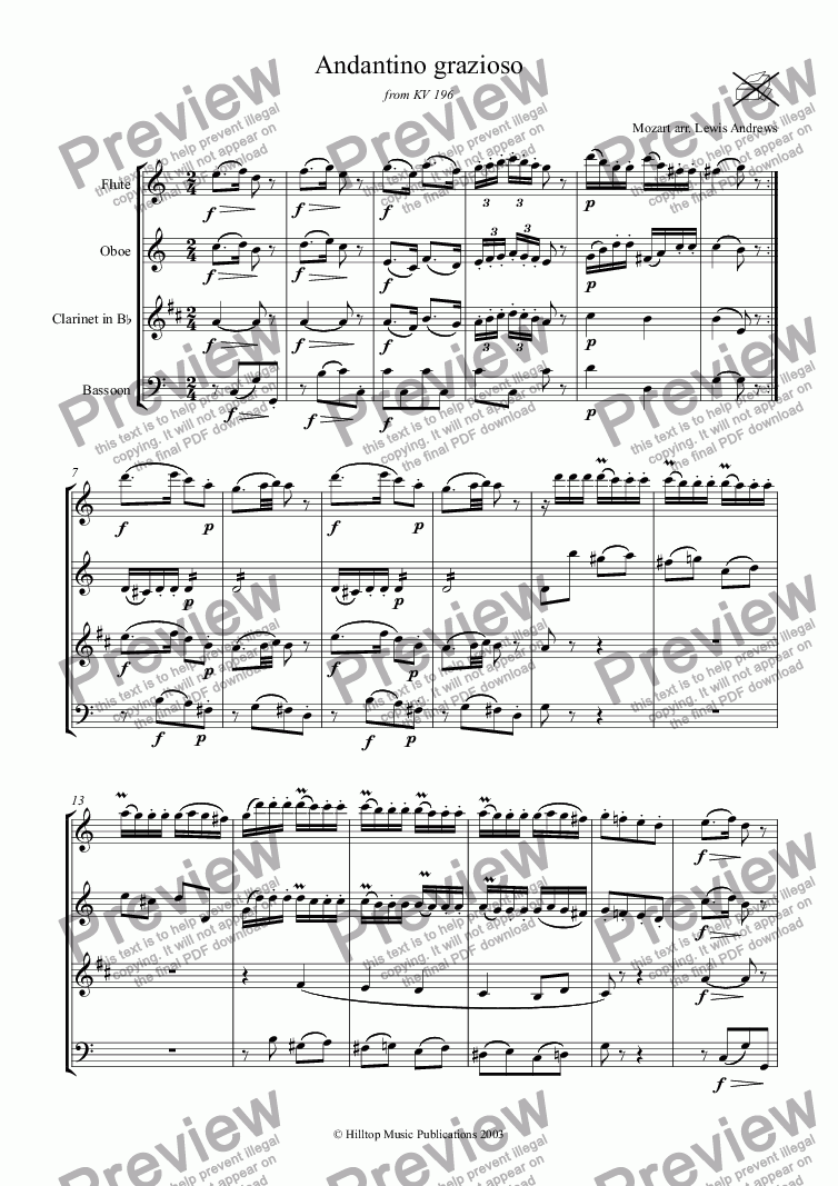 page one of Mozart Andantino grazioso from K. 196