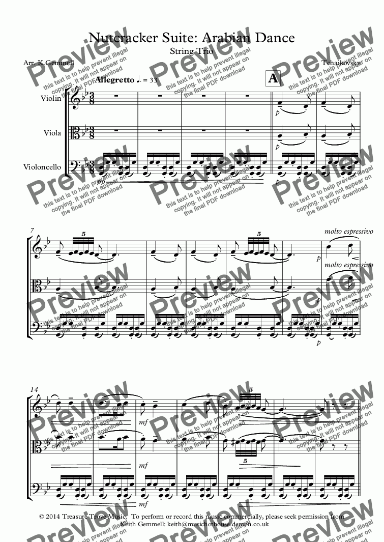 page one of Nutcracker Suite: Arabian Dance - String Trio