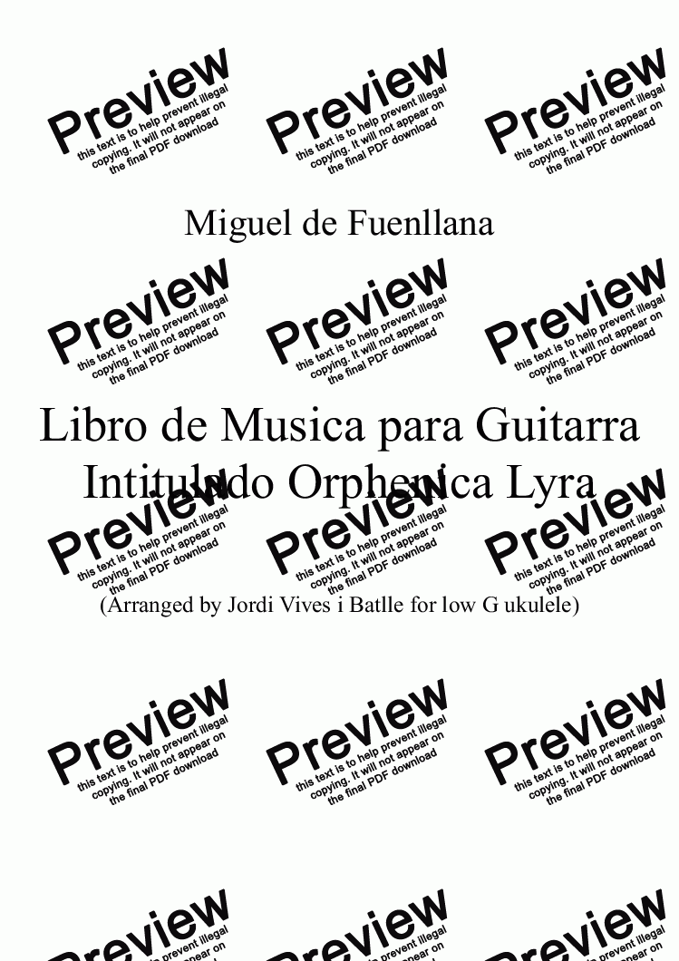 page one of Miguel de Fuenllana - Guitar music from the Orphenica Lyra (Arr. by Jordi Vives i Batlle for low G ukulele), Op. 35m