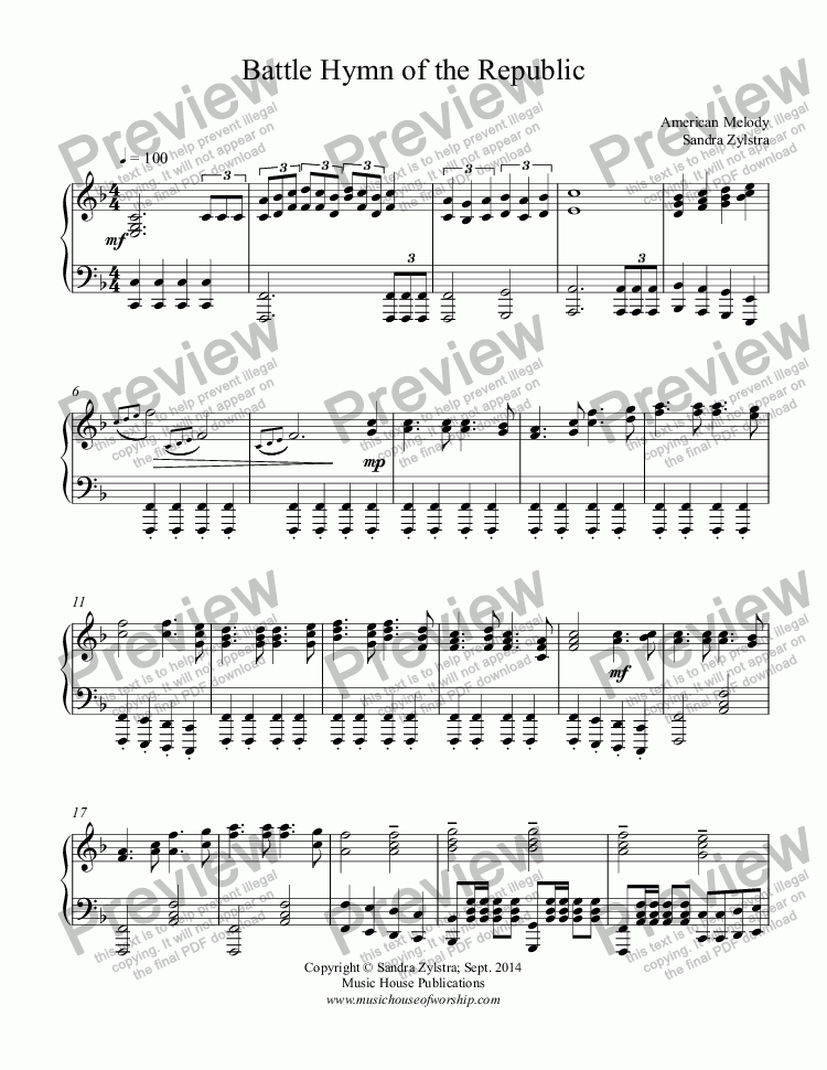 page one of Battle Hymn of the Republic (piano solo)