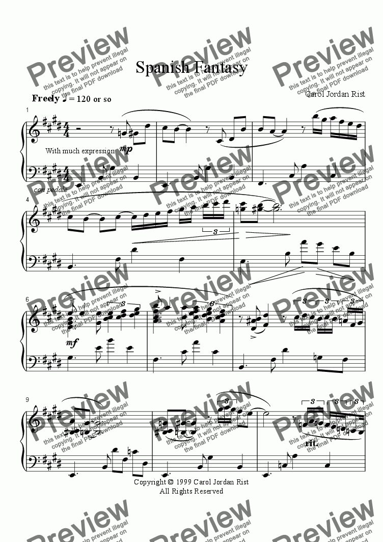 page one of Spanish Fantasy (piano)