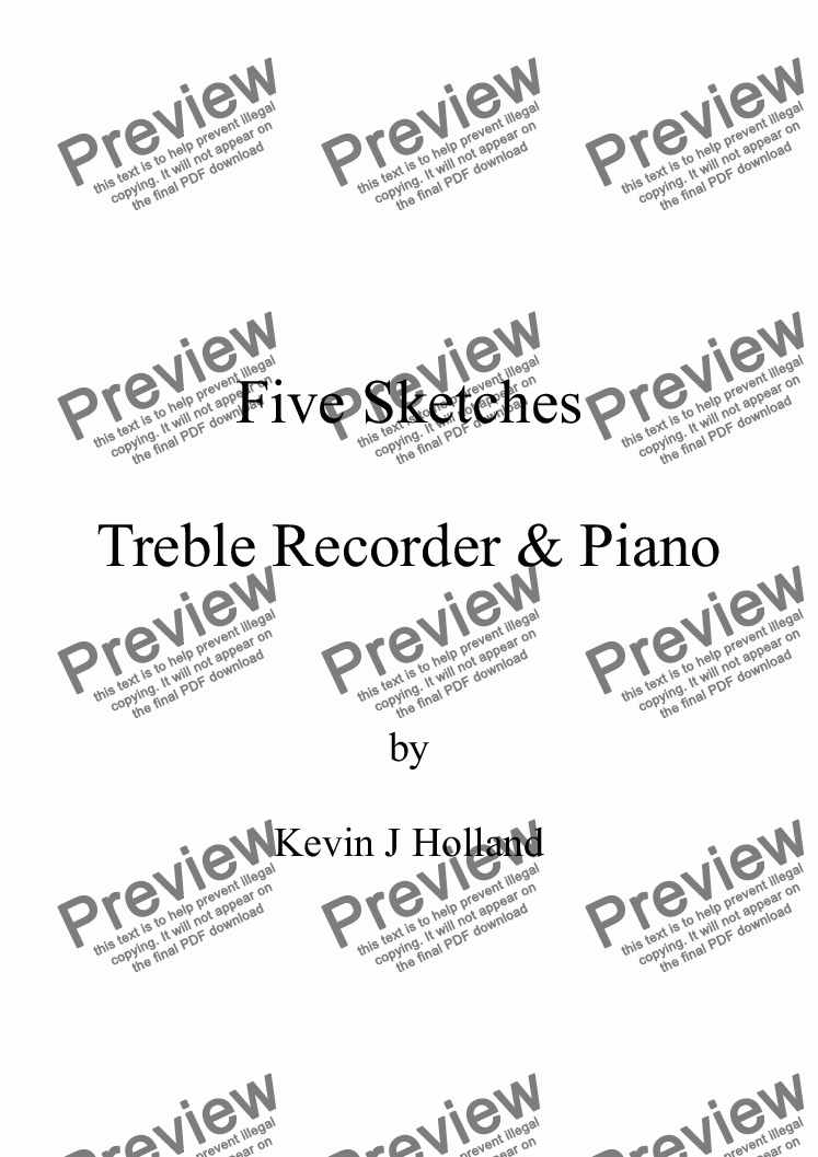 page one of Five Sketches for Treble Recorder & PianoASALTTEXT