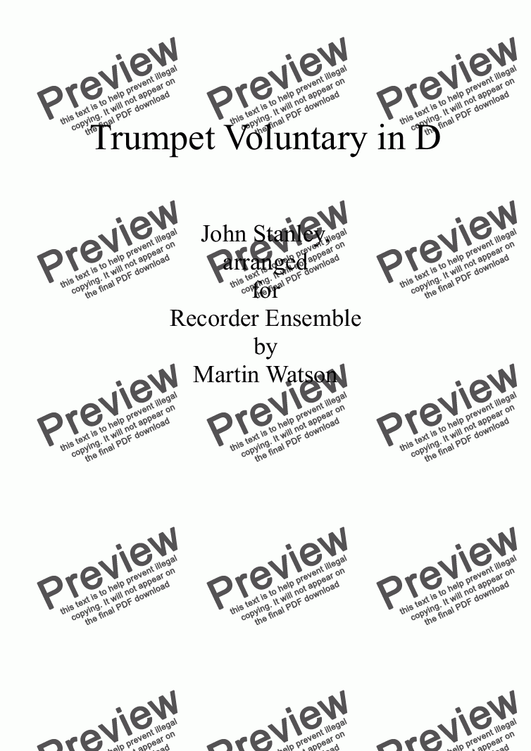 page one of Trumpet Voluntary in D for Recorder Ensemble