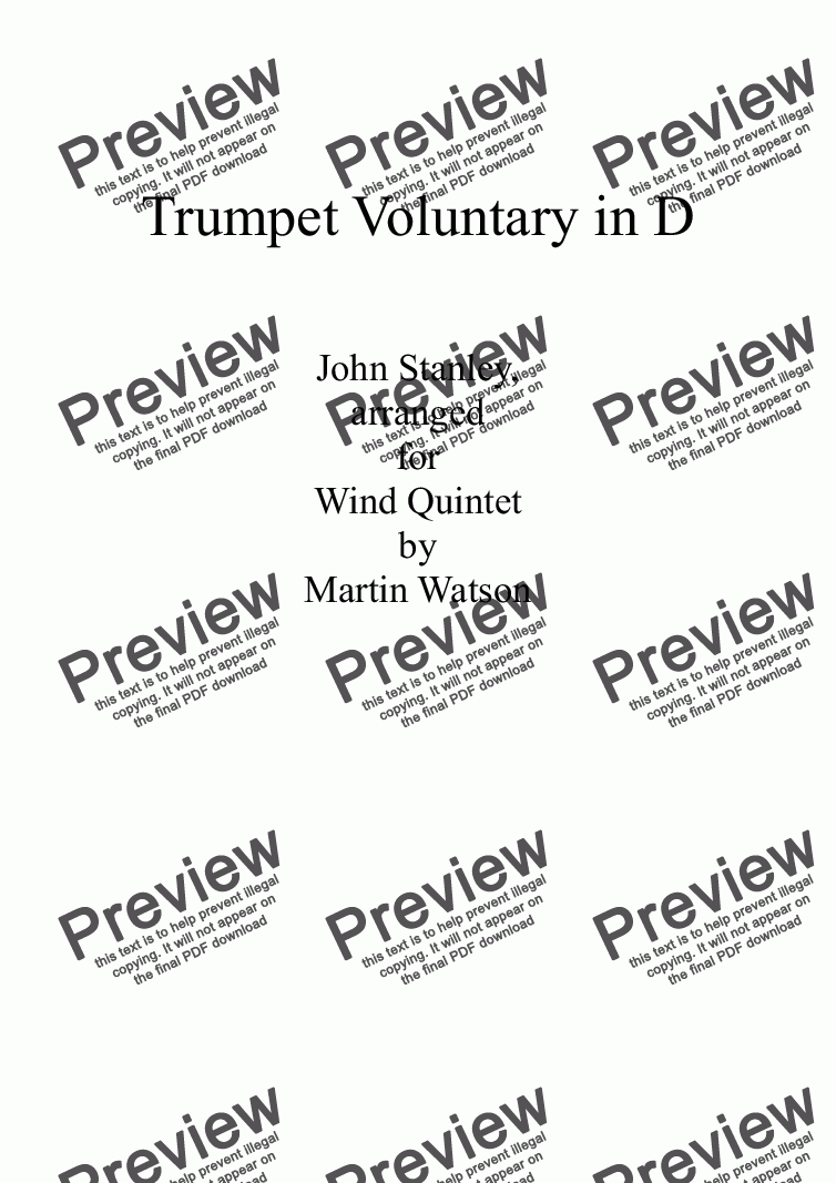 page one of Trumpet Voluntary in D for Wind Quintet