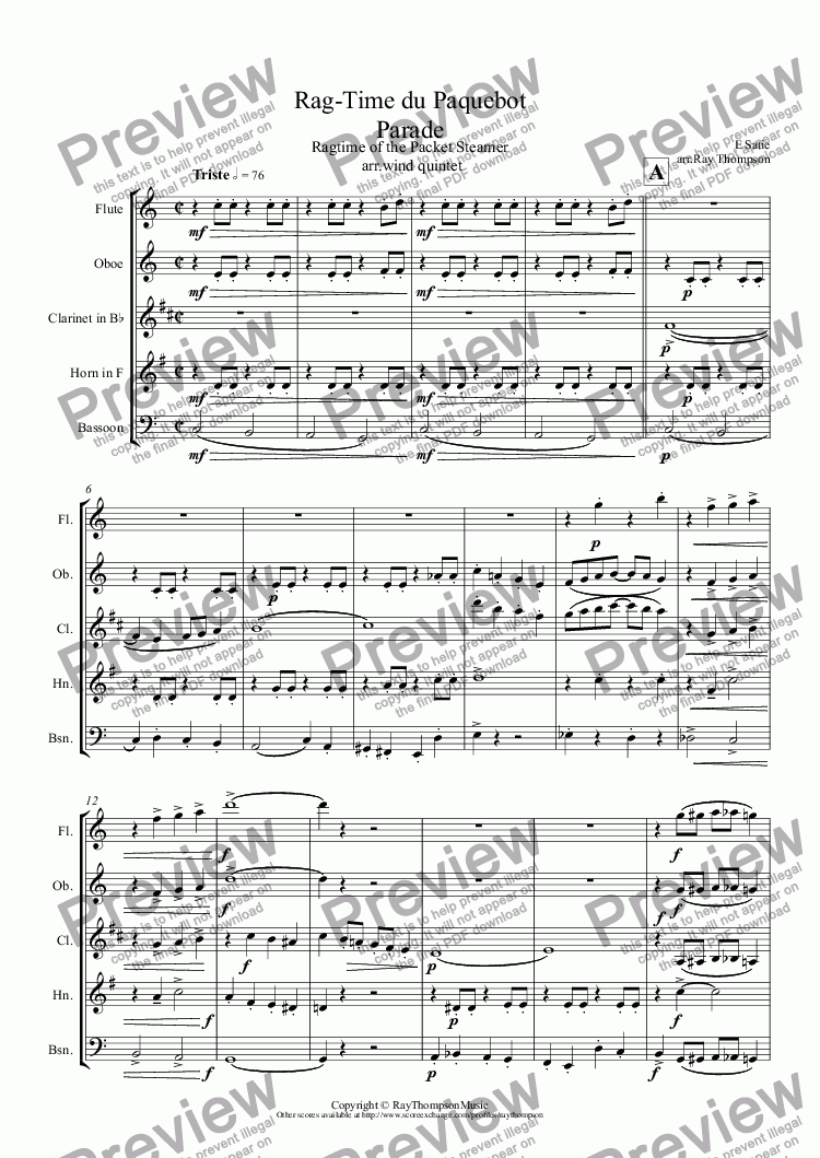 page one of Satie:Ragtime from Parade (Rag-Time du Paquebot)( Ragtime of the Packet Steamer(Steampacket)) arr.wind quintet