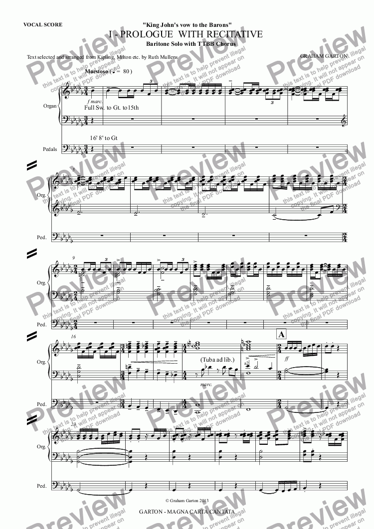 page one of MAGNA CARTA CANTATA with ORGAN acc. No.1 - PROLOGUE  WITH RECITATIVE