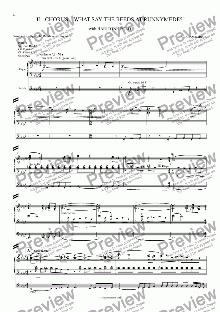 page one of MAGNA CARTA CANTATA with ORGAN acc. No.2 - CHORUS -