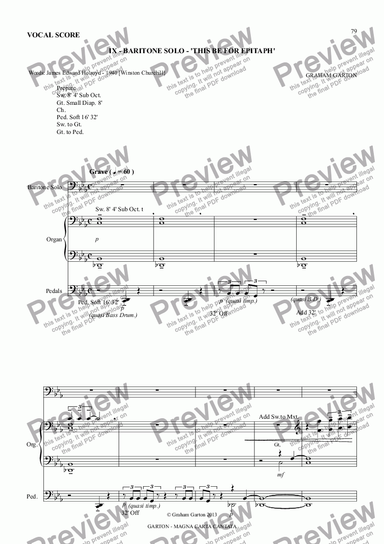 page one of MAGNA CARTA CANTATA with ORGAN acc. No.9 - BARITONE SOLO - 'THIS BE FOR EPITAPH' Vocal Score