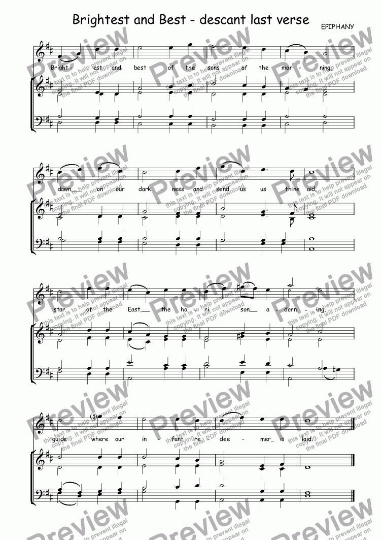 page one of Descant (vocal/instrumental) to Epiphany (Brightest and best)