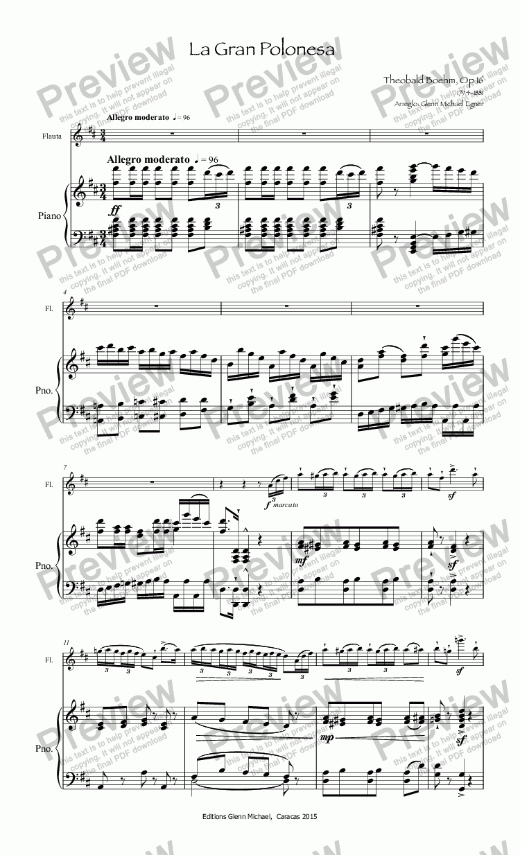 page one of Boehm La Gran Polonesa for flute & pno