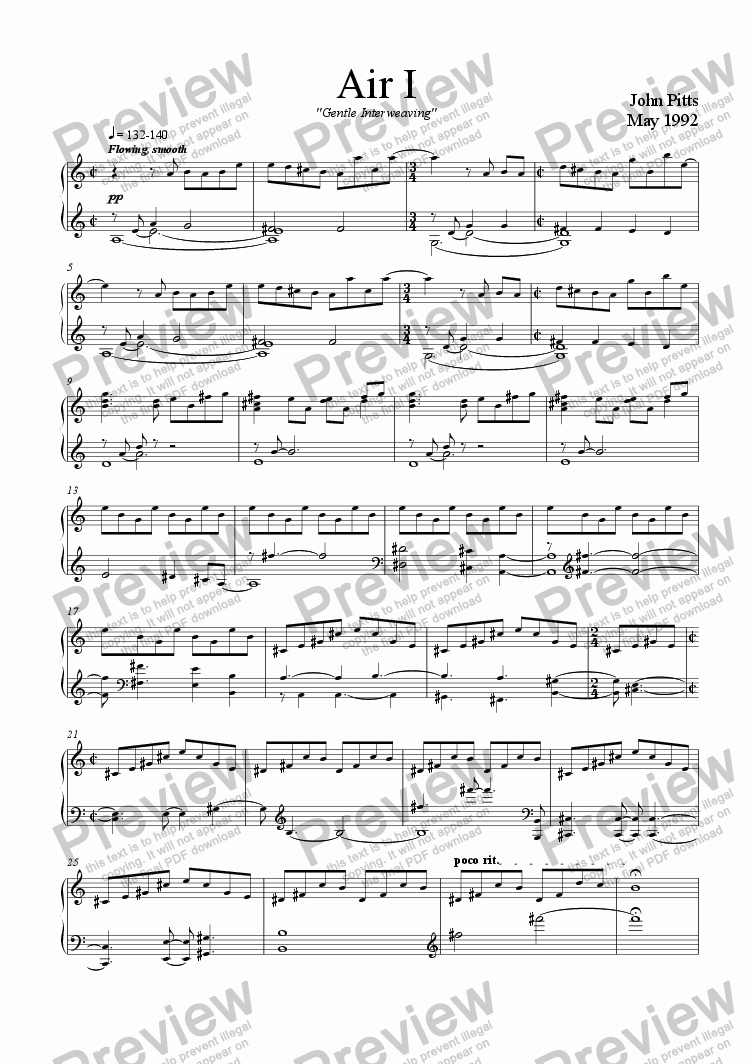 "page one of Air 1  ""Gentle Interweaving"" [1992]"